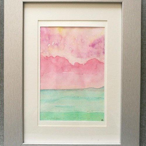 Paysage aquarelle - soleil rose