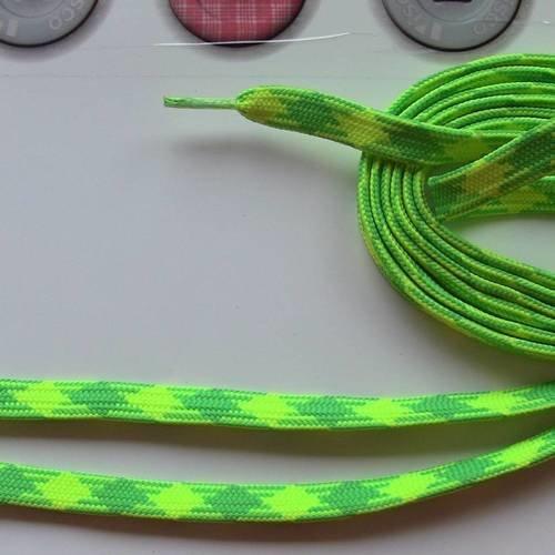 Lacet de chaussure environ 1.10 m coton polyester vert et jaune fluo