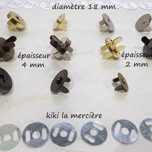 Pression aimanté assortis 4 mm d'épaisseur , fermoir sac, top magnétique bouton aimant  diamètre 18 mm lot de 8 sets