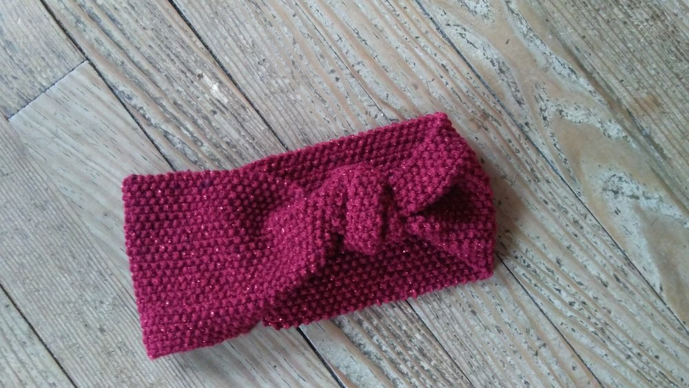 Headband, Bandeau adulte en laine rouge de style rétro - automne/hiver 2019
