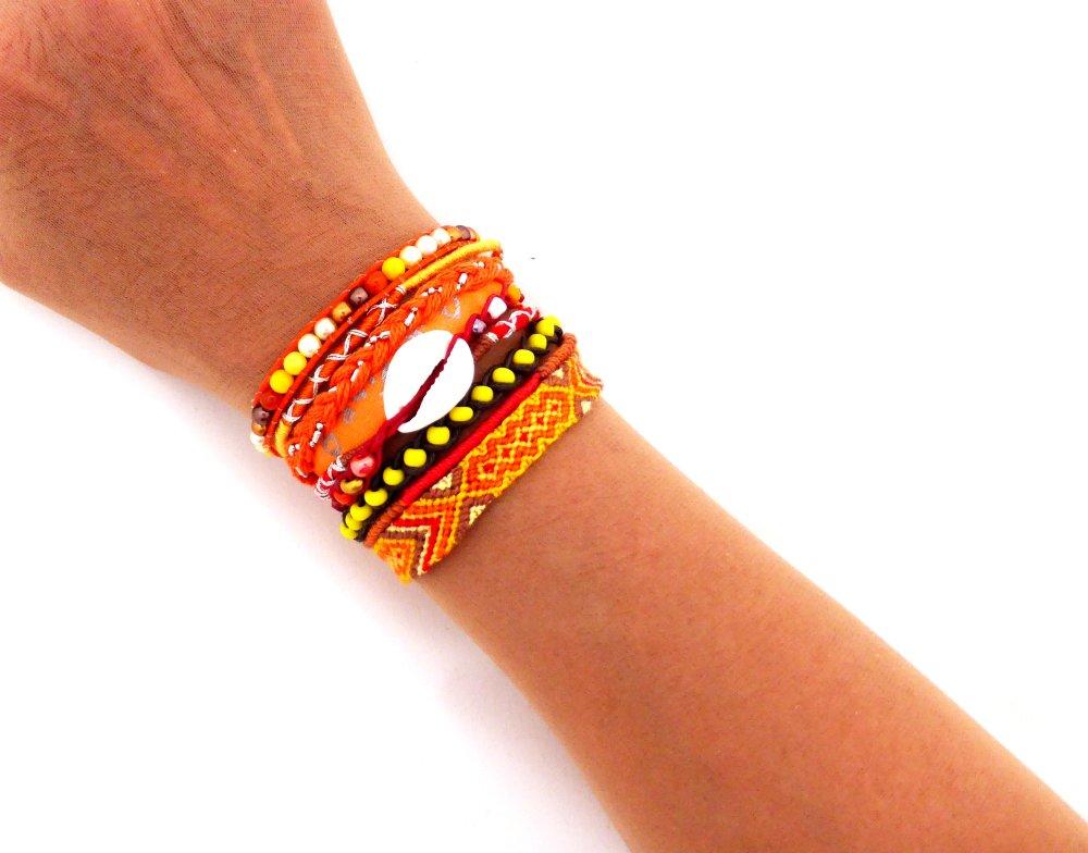 Bracelet manchette brésilienne Multi rangs orange