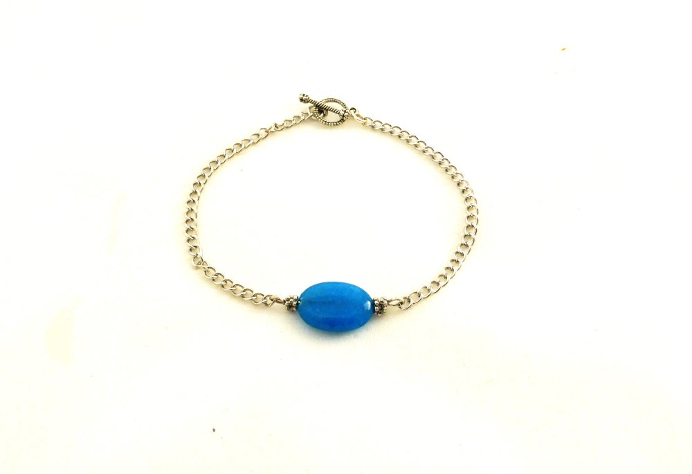 bracelet chaîne  perle bleue