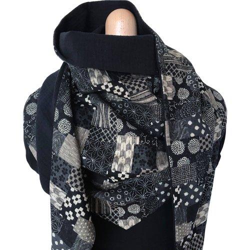 Écharpe mixte #patchwork noir