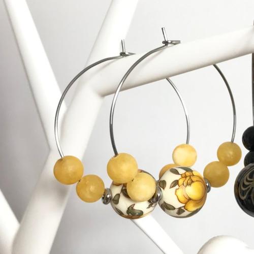 Boucles d'oreilles mellow yellow perles japonaises