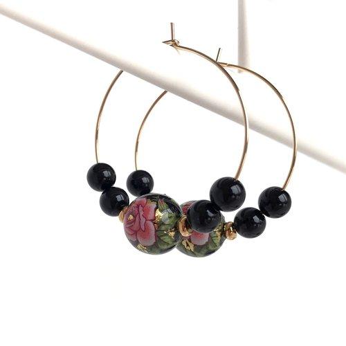 Créoles perles japonaises noire/rose