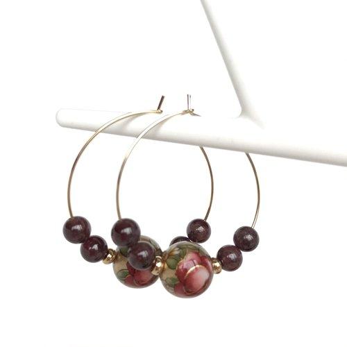 Créoles perles japonaises grenat