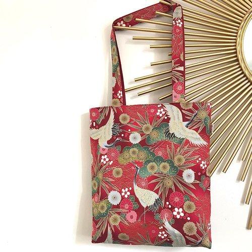 Tote bag tissu japonais rouge motif grues du japon
