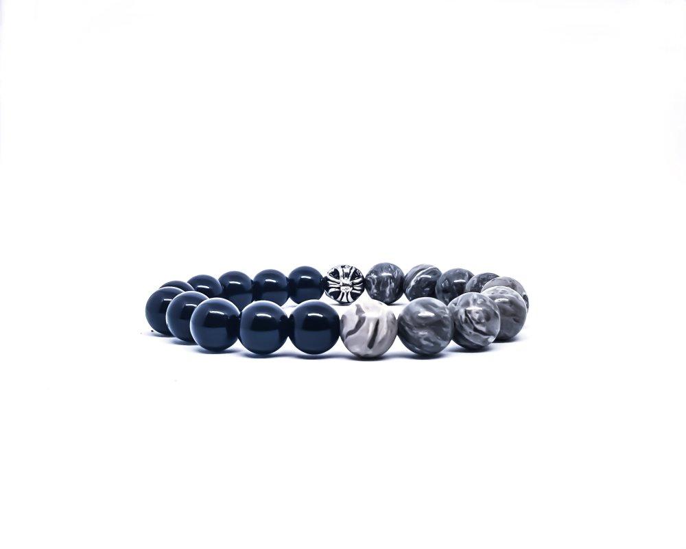 Bracelet  Homme/Femme en pierres naturelles de Jaspe gris et Onyx