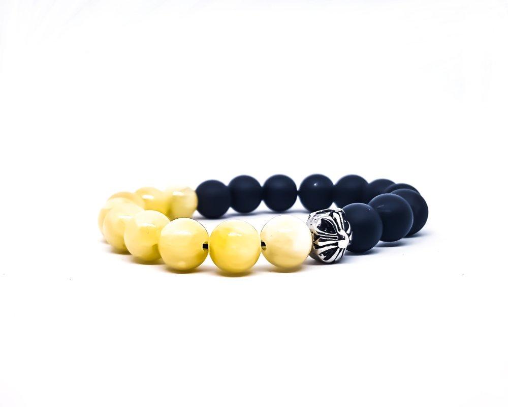 Bracelet Homme/Femme en pierres naturelles d'onyx et calcite jaune
