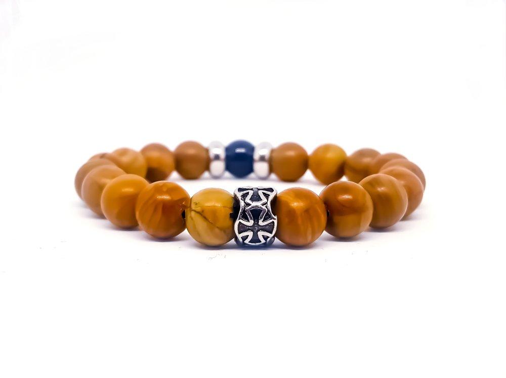 Bracelet Homme/Femme Croix en acier et pierres naturelles de bois fossilisés