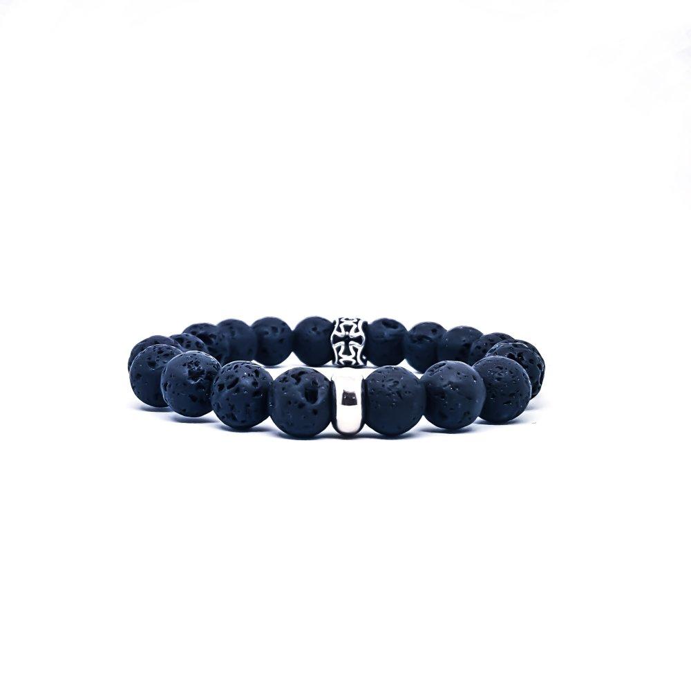 Bracelet Homme/Femme Croix en acier et pierres naturelles de Lave