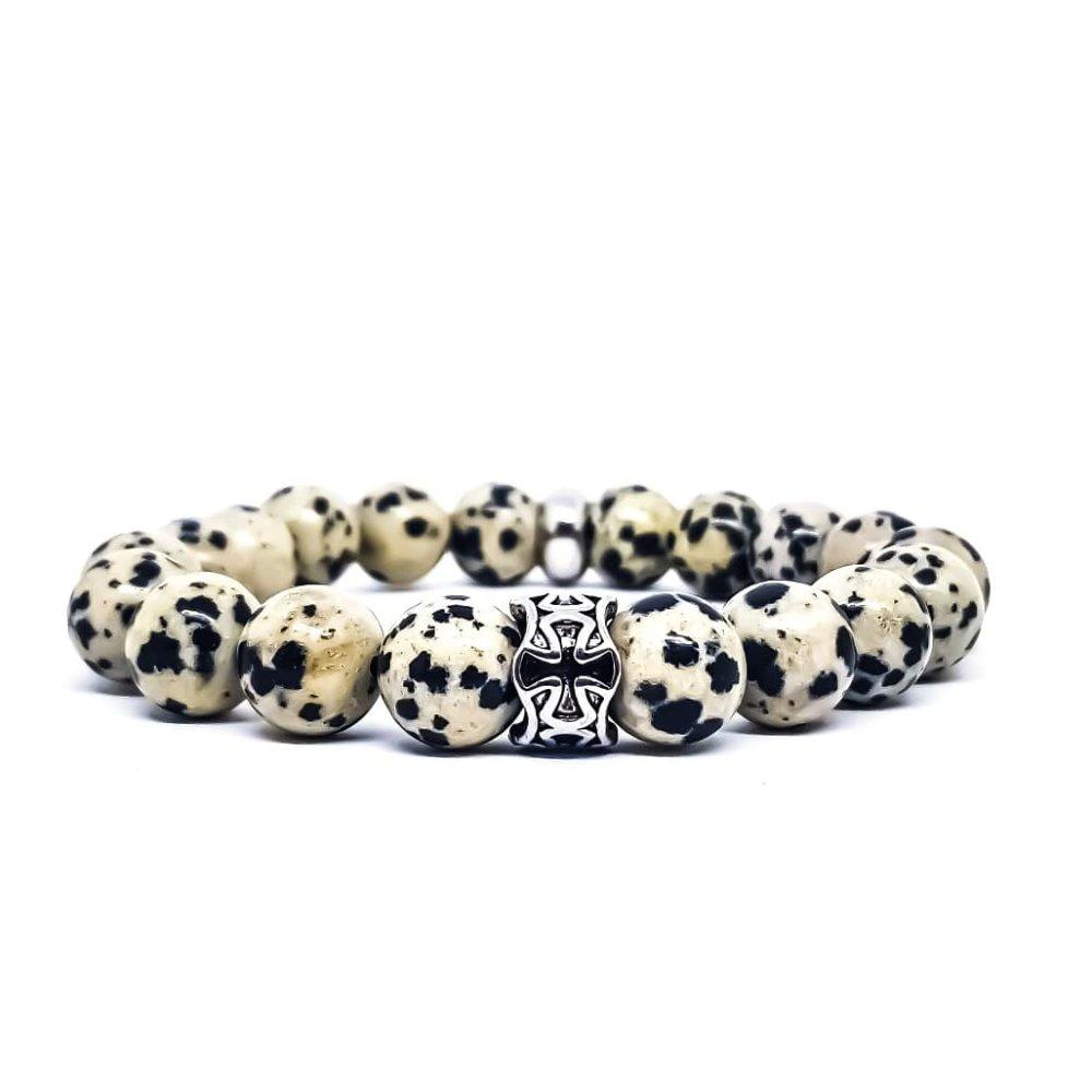 Bracelet Homme/Femme Croix en acier et pierres de Jaspe Dalmatien