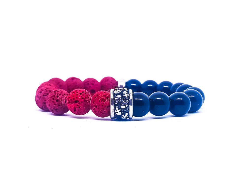 Bracelet Homme Skull en acier, pierres d'onyx et lave rouge