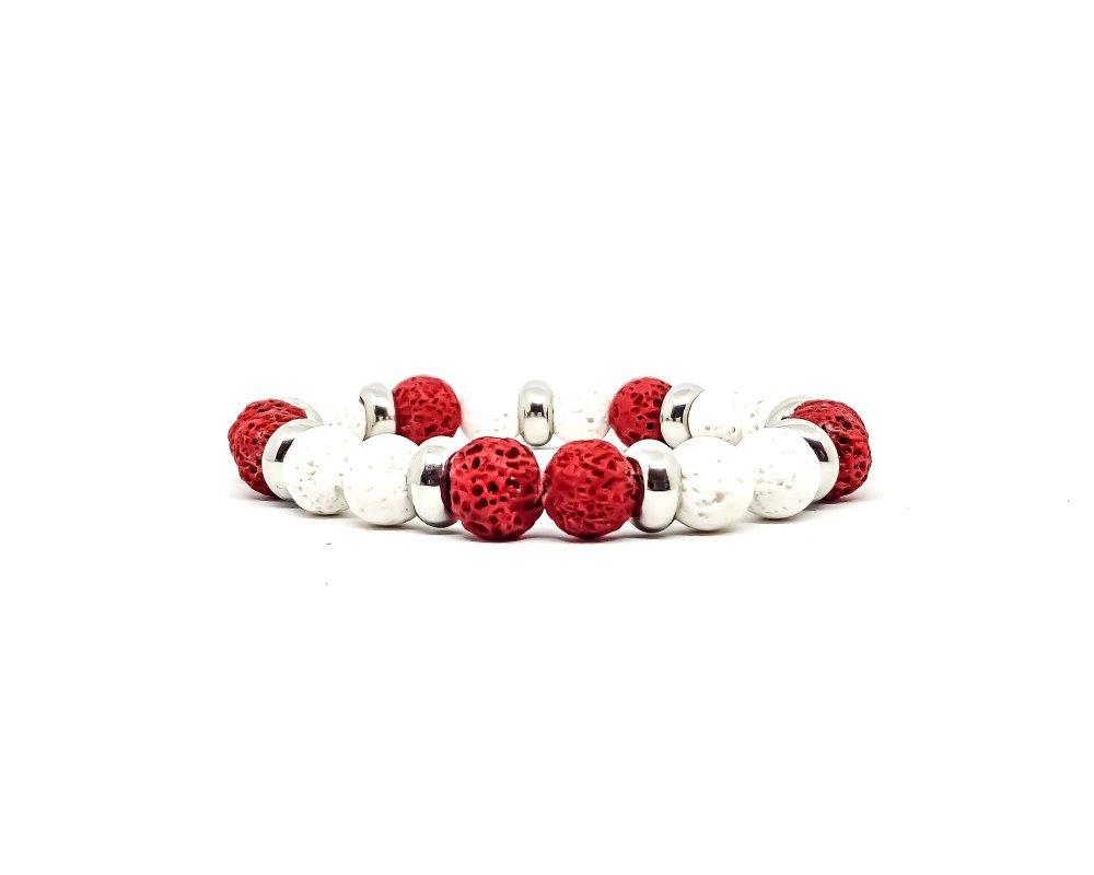 Bracelet Homme/Femme en pierres naturelles de Lave Rouge et Blanc