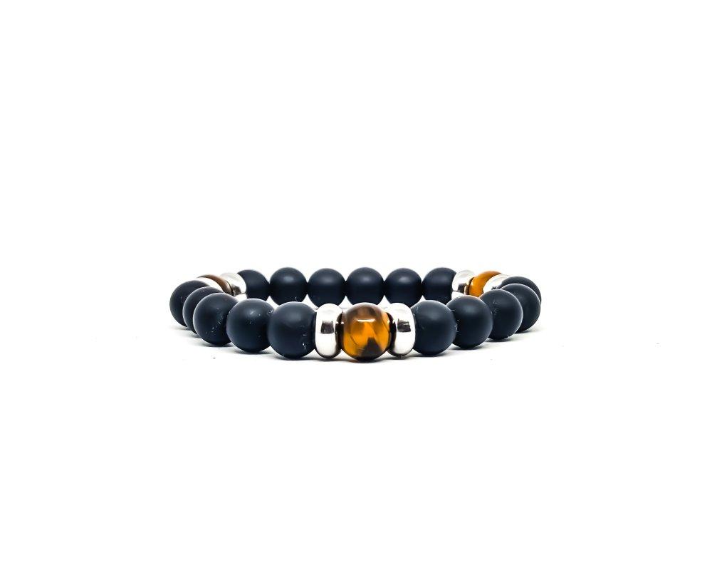 Bracelet Homme/Femme en pierres naturelles d'Onyx mât et Oeil de tigre