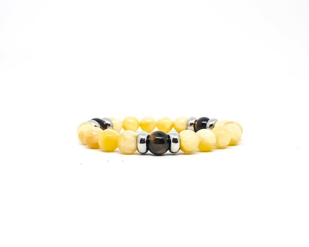Bracelet Homme/Femme en pierres naturelles de Calcite jaune et Oeil de tigre