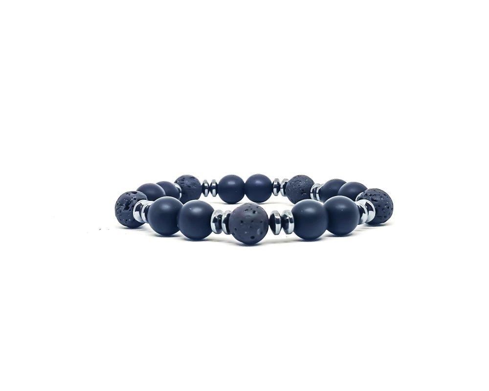 Bracelet Homme/Femme en pierres naturelles d'Onyx et Lave