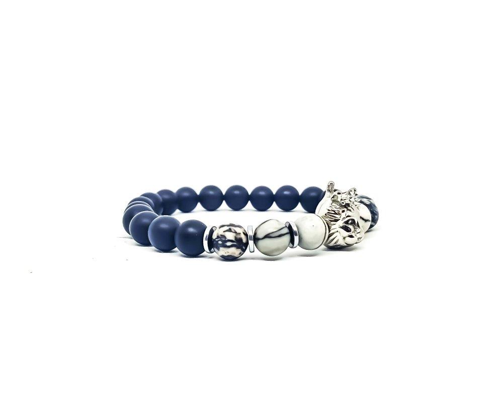 Bracelet Homme/Femme Lion en acier et pierres naturelles d'onyx