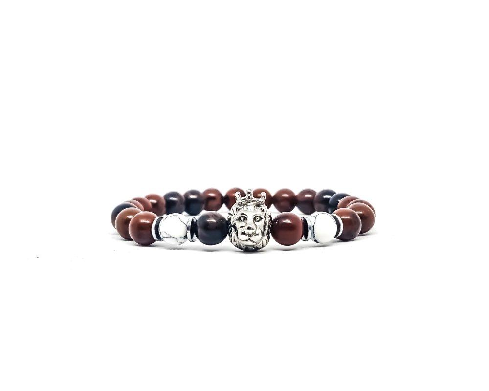Bracelet Homme/Femme Lion en acier et pierres naturelles de Jaspe sanguin