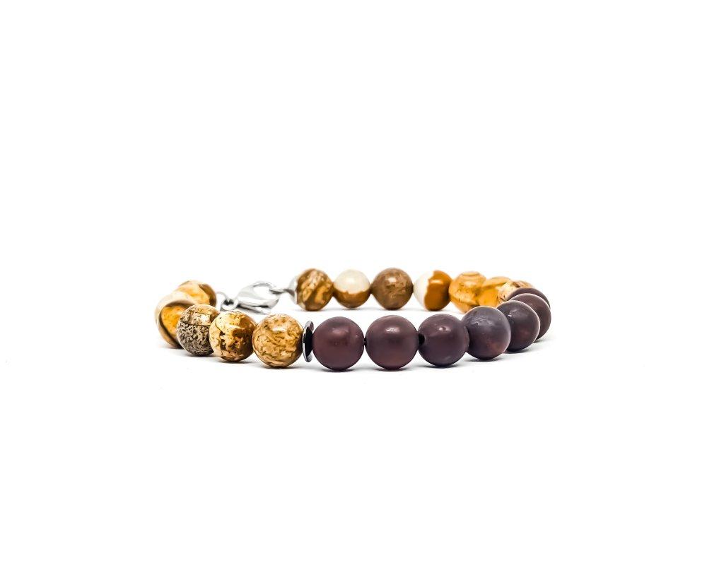 Bracelet Homme/Femme en pierres naturelles de Jaspe Rouge et beige.