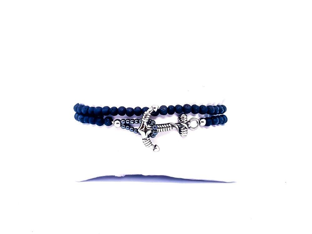 Bracelet Homme/Femme Ancre Marine en pierres naturelles de Lave.