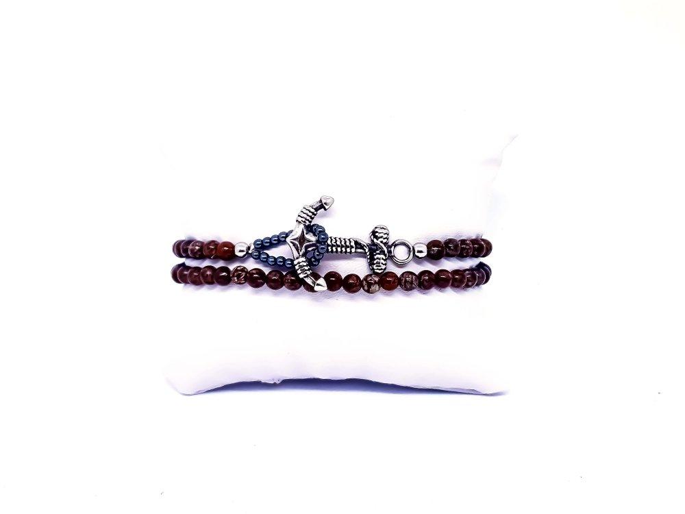 Bracelet Homme/Femme Ancre Marine en pierres naturelles de Jaspe rouge..