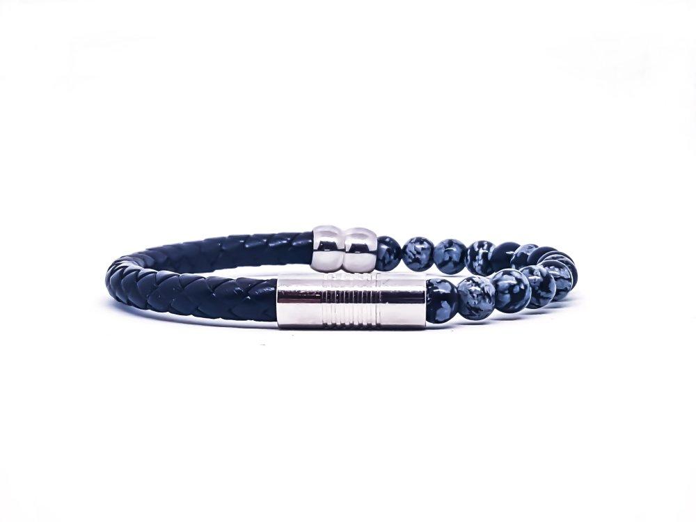 Bracelet Homme/Femme en pierres d'obsidienne et cuir.