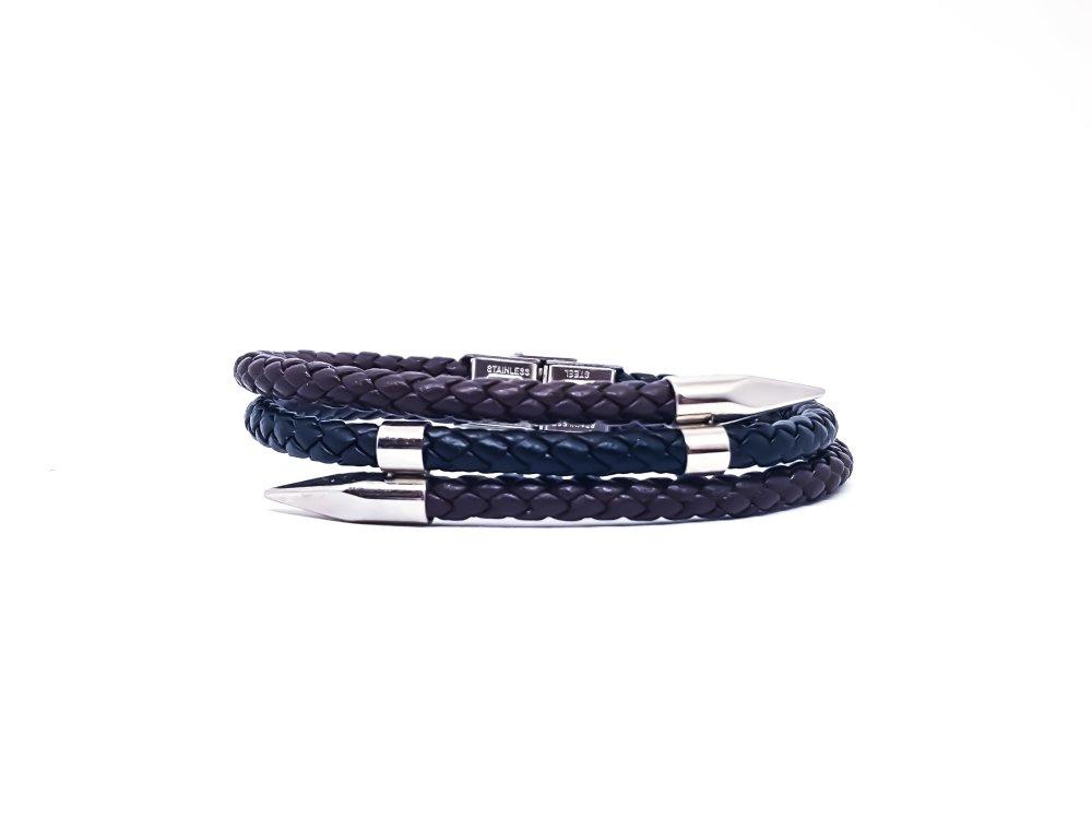 Bracelet Homme en cuir noir, marron et acier inoxydable
