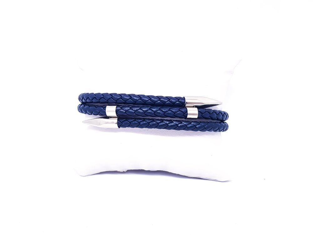 Bracelet Homme en cuir bleu et acier inoxydable