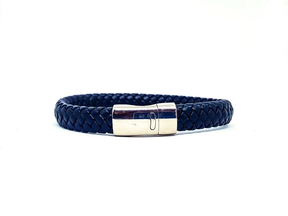 Bracelet Homme en cuir noir et acier inoxydable