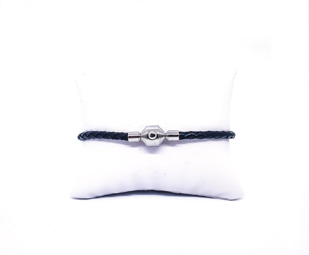 Bracelet Homme/Femme en cuir noir et acier inoxydable