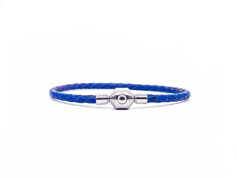 Bracelet Homme/Femme en cuir bleu et acier inoxydable