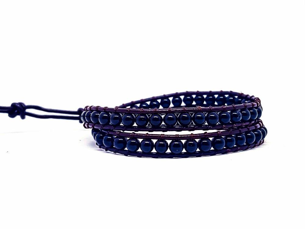 Bracelet Homme/Femme wrap en cuir et pierres naturelles d'onyx