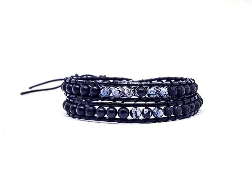 Bracelet Homme/Femme wrap en cuir et pierres naturelles d'onyx, lave et obsidienne.