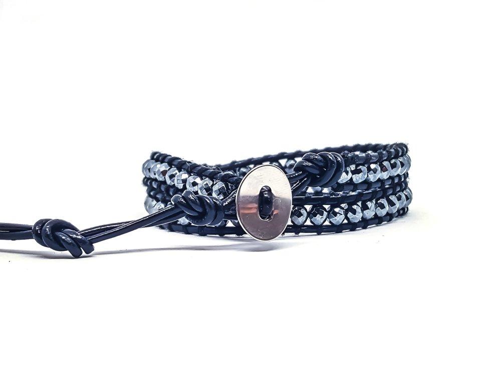 Bracelet Homme/Femme wrap en cuir et pierres naturelles d'Hématite