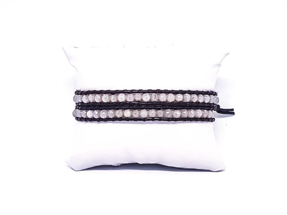 Bracelet Homme/Femme wrap en cuir et pierres naturelles de quartz blanc