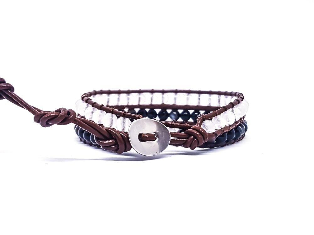 Bracelet Homme/Femme wrap en cuir et pierres naturelles de quartz blanc et onyx