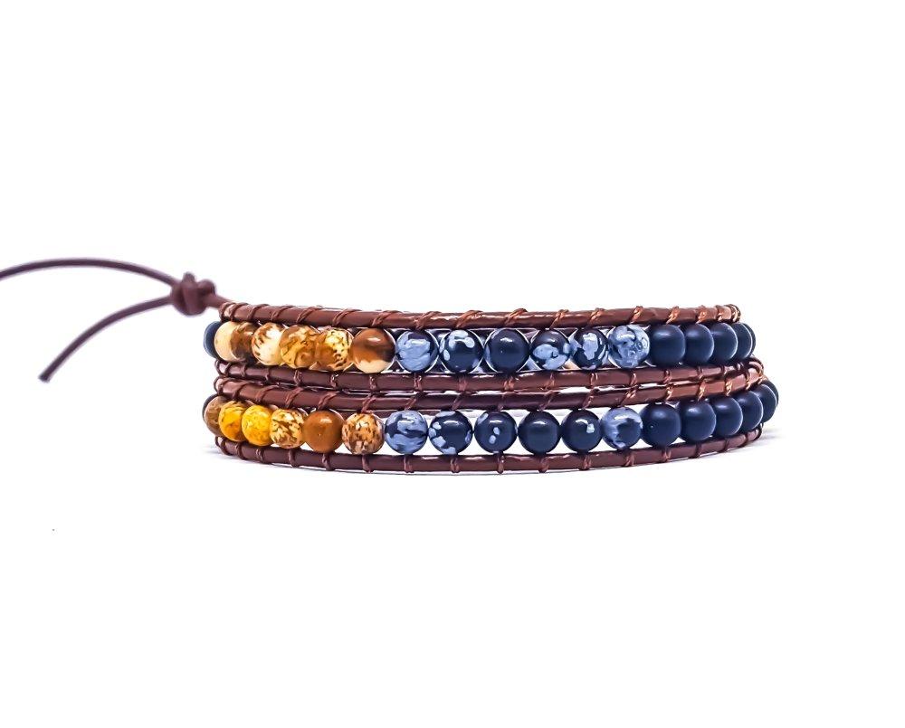 Bracelet Homme/Femme wrap en cuir et pierres naturelles d'onyx, de jaspe et d'obsidienne.