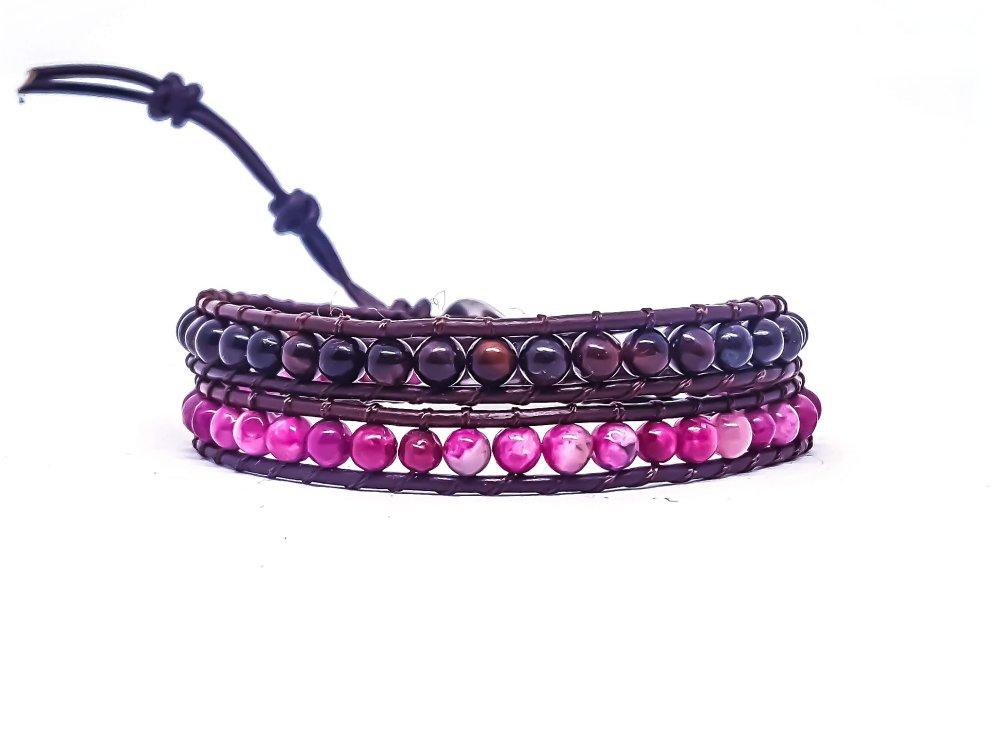 Bracelet Femme wrap en cuir et pierres naturelles d'oeil de taureau et agate rose