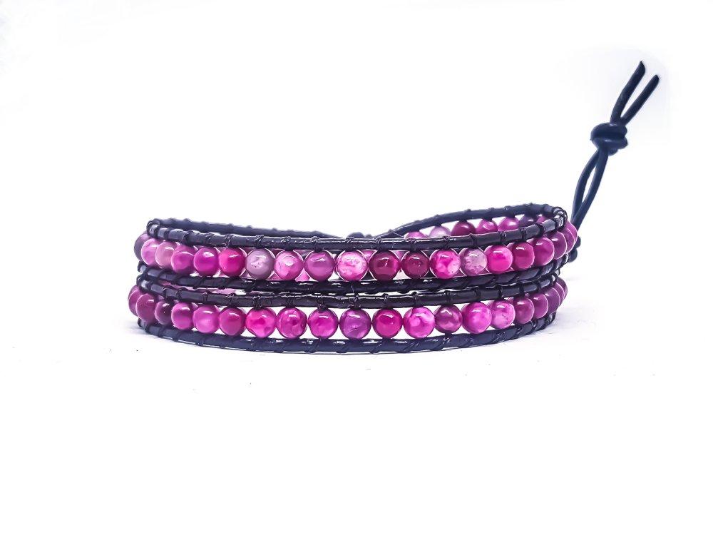 Bracelet Femme wrap en cuir et pierres naturelles d'agate rose