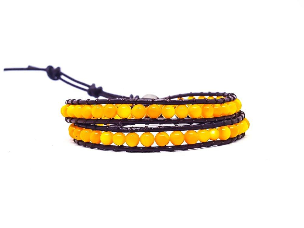 Bracelet Homme / Femme wrap en cuir et pierres naturelles.