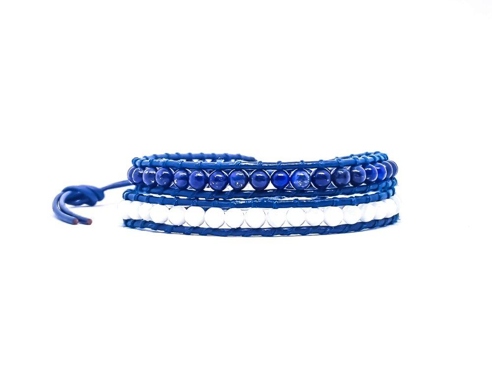 Bracelet Homme/Femme wrap en cuir et pierres naturelles.