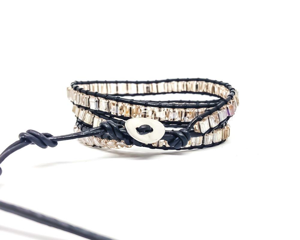 Bracelet Femme wrap en cuir et cristal