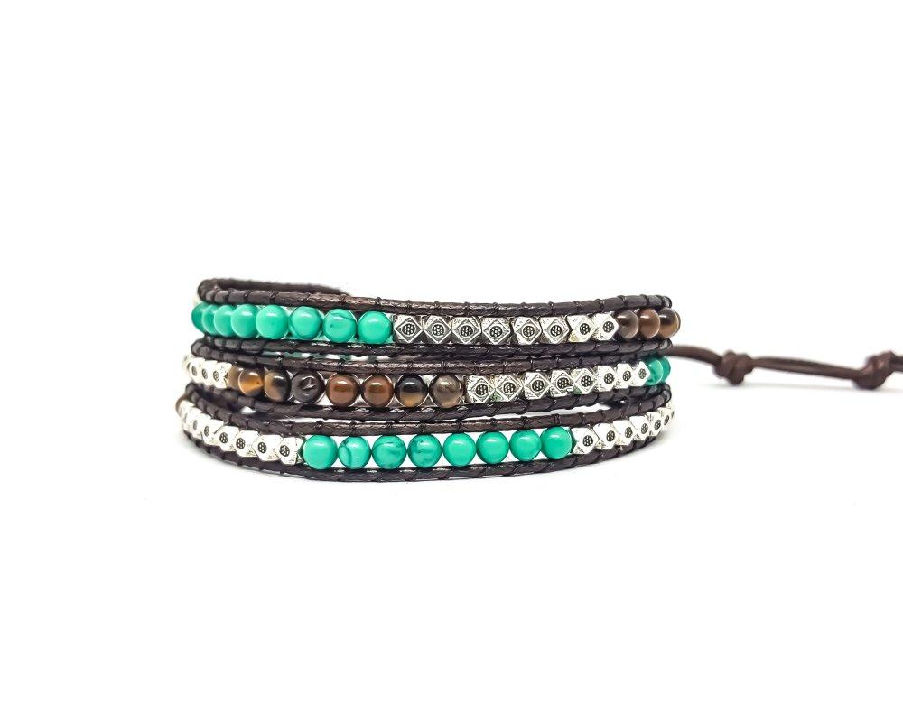 Bracelet Homme / Femme wrap en corde cirée et pierres naturelles