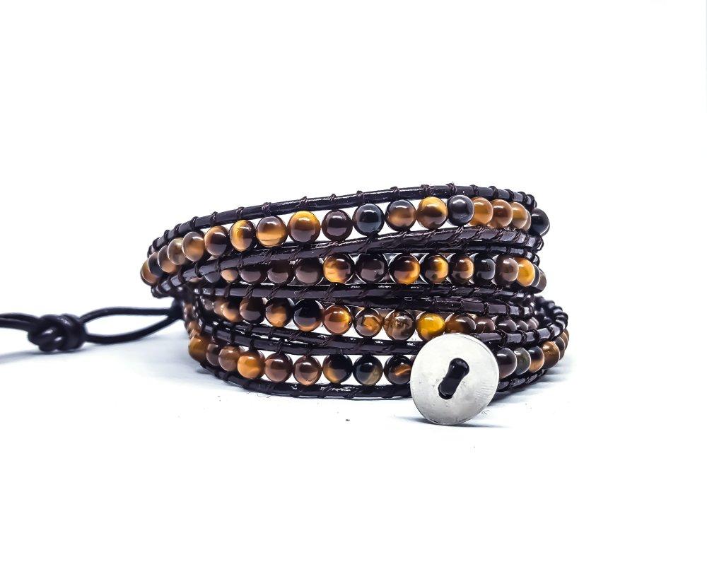 Bracelet Homme / Femme wrap en cuir marron et pierres naturelles
