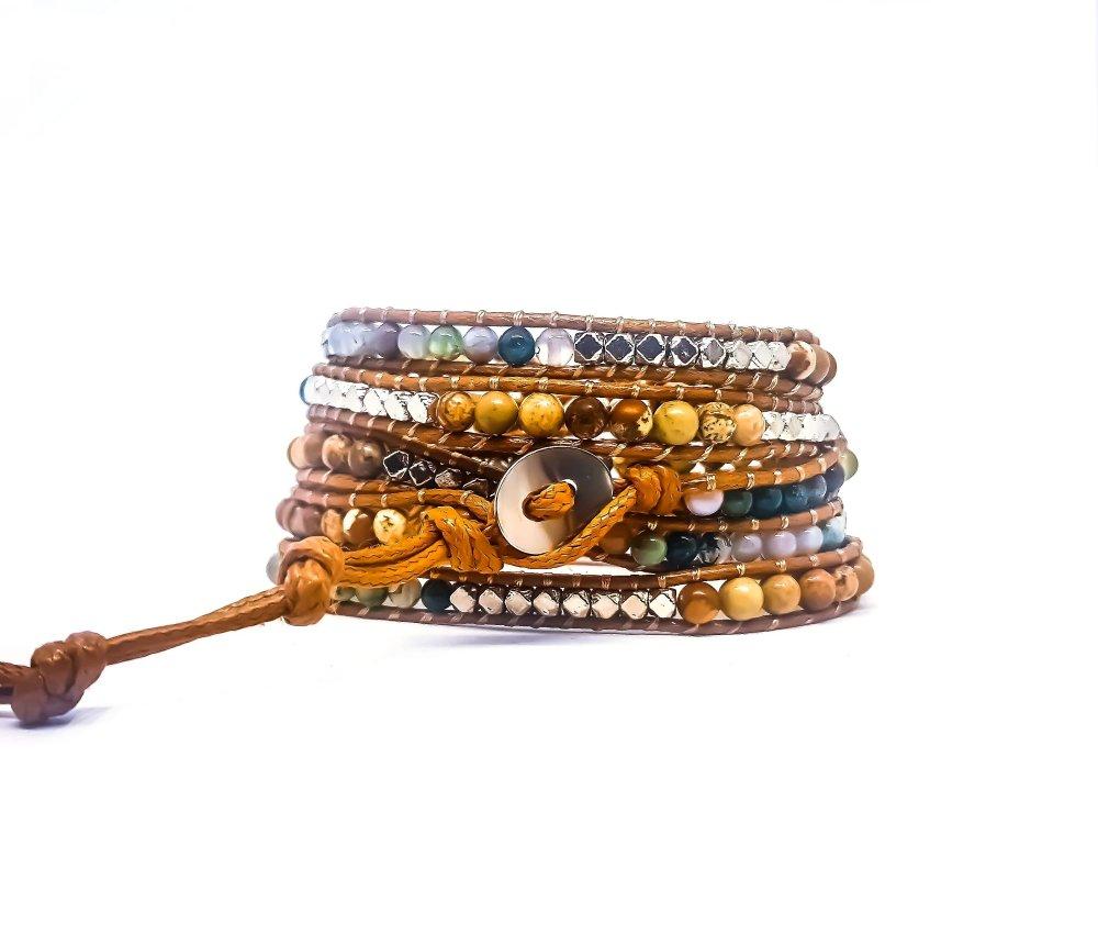 Bracelet Homme / Femme wrap en corde cirée beige et pierres naturelles