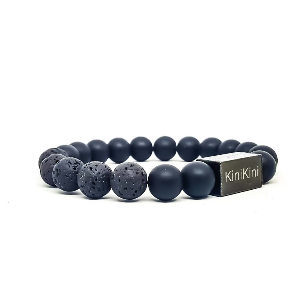 Bracelet Homme KINIKINI en pierres naturelles d'Onyx black et acier inoxydable