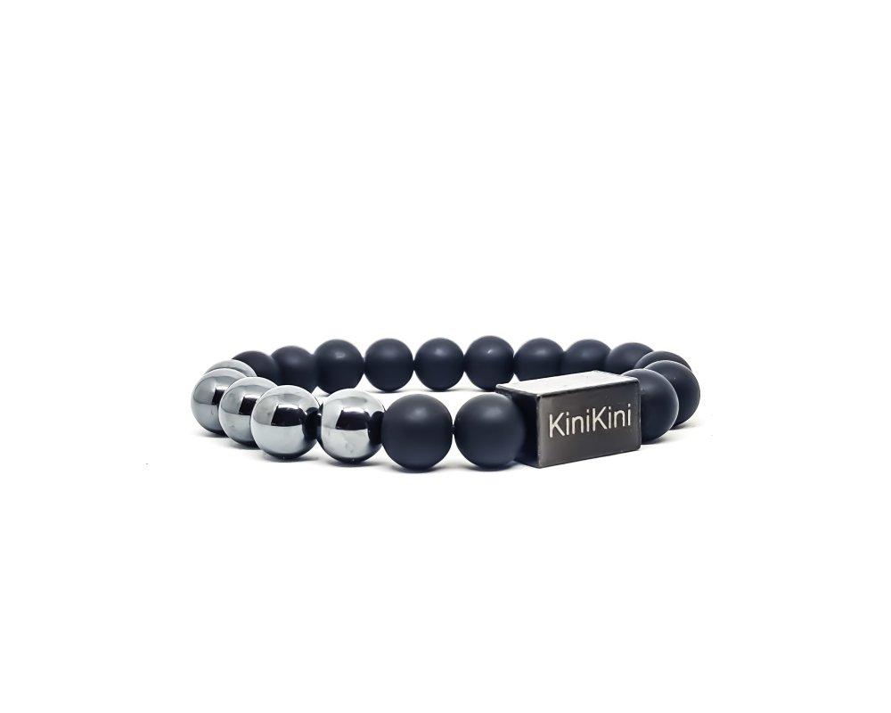 Bracelet Homme KINIKINI en pierres naturelles d'Hématite, onyx et acier