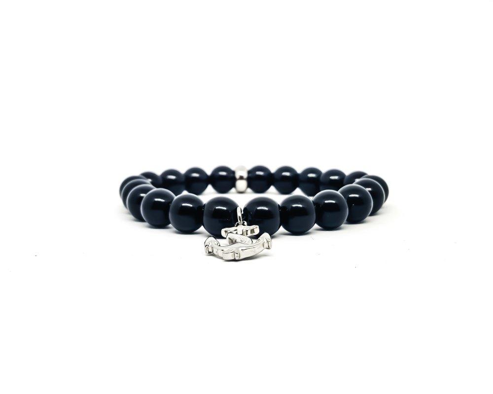 Bracelet  Homme/Femme Ancre marine en acier et pierres naturelles d'Onyx.