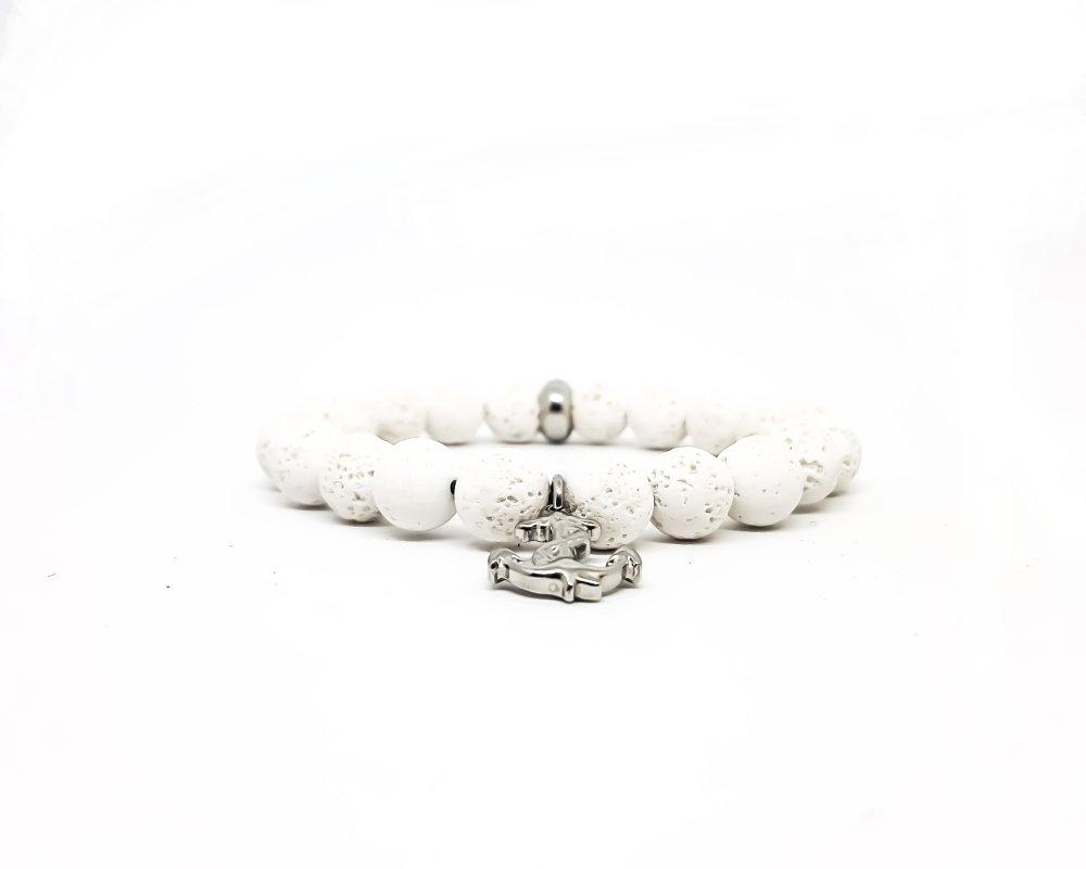 Bracelet Homme/Femme Ancre marine en acier inoxydable et pierres naturelles de lave blanche